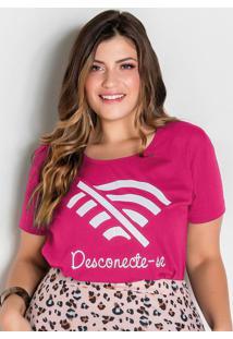 T-Shirt Pink Com Estampa Frontal Plus Size