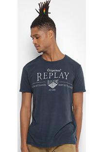 Camiseta Replay Estampada Masculina - Masculino