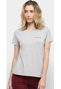Camiseta Calvin Klein Mc Logo Feminina - Feminino-Mescla