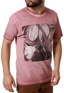 Camiseta Manga Curta Masculina Vels Bordô