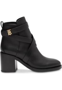 Burberry Ankle Boot Monogramada - Preto