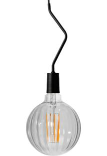 Pendente Preto Com Lâmpada Decorativa Filamento Led Moranga G100 Sl2793 Toplux