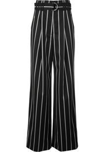 Proenza Schouler Calça Listrada Com Cinto - Preto