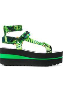 Versace Sandália Bicolor Com Plataforma - Verde