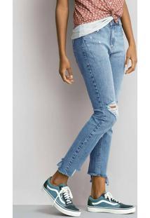638018986 ... Calça Jeans Skinny Feminina Com Barra Assimétrica Desfiada