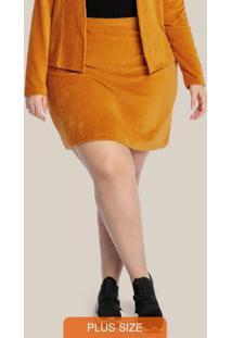 Saia Plus Size Em Veludo Cotelê Amarelo