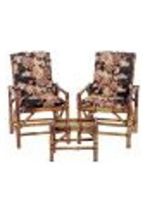Conjunto Mesa E 2 Cadeiras De Bambu Cancun Para Área Edicula Jardim G22