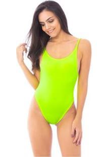 Body Moda Vício Decote Costas Alça Fina - Feminino-Amarelo