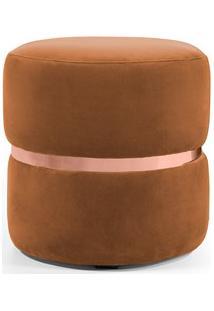 Puff Decorativo Com Cinto Rosê Round B-262 Veludo Laranja - Domi