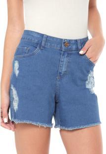 Bermuda Jeans Enfim Destroyed Azul