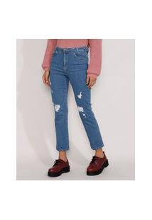 Calça Jeans Feminina Cintura Alta Sawary Reta Destroyed Azul Médio