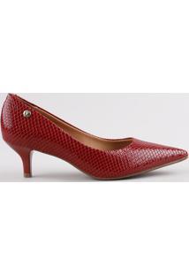 Scarpin Feminino Vizzano Bico Fino Salto Fino Médio Texturizado Cobra Em Verniz Vermelho