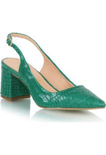 Scarpin Em Couro Croco Verde