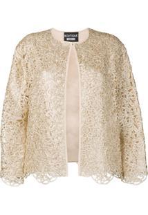 Boutique Moschino Jaqueta Com Detalhe De Renda - Dourado