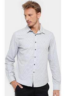 Camisa Ellus Slim Fit Triple Mini Print Masculina - Masculino