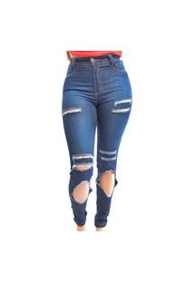 Calça Jeans Nstore Feminina Skinny Cintura Alta Cós Alto Destroyed Azul