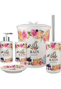 Kit Banheiro Amigold Porcelana Porta Sabonete Escova Lixeira Bain Design 5 Pçs