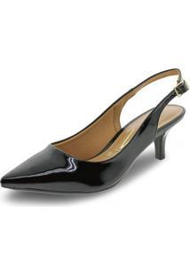 Sapato Feminino Chanel Vizzano - 1122606 Verniz/Preto 34