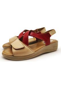 Sandalia Ortopedica Couro Dia A Dia Iac Calçados Multicolorido