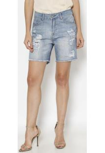 Bermuda Jeans Destroyed - Azul Clarocanal