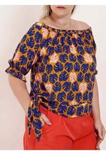 Blusa Ciganinha Plus Size Feminina Amarelo/Azul