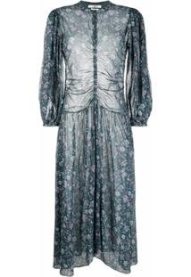 Isabel Marant Étoile Ruched Floral-Print Dress - Verde