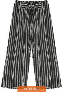 Calça Plus Size Pantacourt Secret Glam Preto