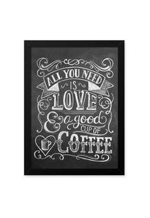 Quadro Decorativo 23X33Cm Nerderia E Lojaria Lousa Love And Coffee Branco