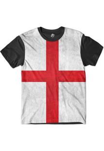 Camiseta Bsc Bandeira Inglaterra Sublimada - Masculino-Preto