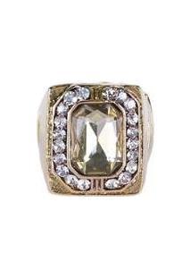 Anel Armazem Rr Bijoux Cristal Quadrado Feminino - Feminino
