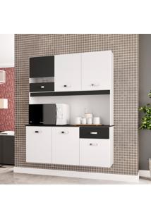 Armário Cozinha Compacta Lili 6 Portas Branco E Preto Poquema