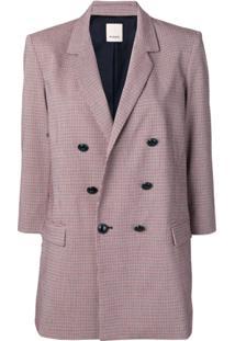 Pinko Blazer Com Estampa Xadrez E Abotoamento Duplo - Branco