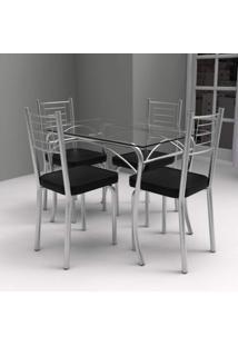 Conjunto De Mesa Tampo Vidro Lion Com 4 Cadeiras Juliana Art Panta Cromado/Preto