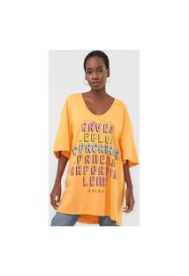 Camiseta Colcci Oversized Lettering Laranja