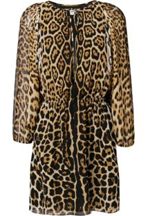 Saint Laurent Vestido Com Estampa Leopardo - Preto