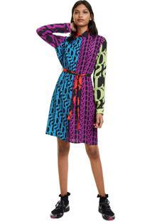 Vestido Desigual Curto Estampado Roxo/Azul