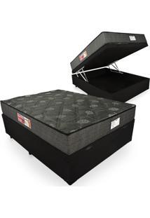 Cama Box Com Baú Casal + Colchão De Espuma D23 - Prorelax - Sienna 138X188X60Cm Preto