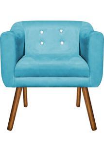 Poltrona Decorativa Julia Suede Azul Tiffany Com Strass - D'Rossi