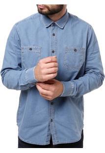 Camisa Manga Longa Jeans Masculina Elétron Azul Claro