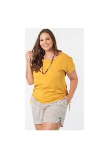 Blusa Almaria Plus Size Munny Amarração Lateral Amarelo