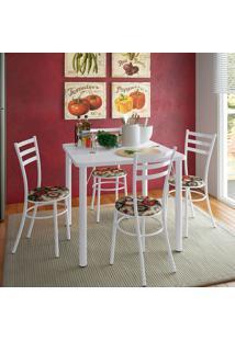 Conjunto De Mesa De Cozinha Com 4 Lugares Luca Branco E Colorido