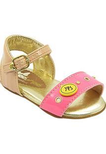 Sandália Com Pataches Pé Com Pé - Feminino-Rosa+Dourado