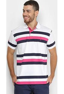 Camisa Polo Aleatory Estampa Listrada Masculina - Masculino-Marinho+Branco