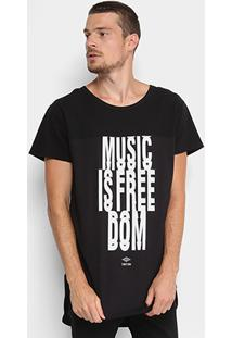 Camiseta Triton Music Free Masculina - Masculino-Preto