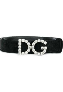 Dolce & Gabbana Cinto 'Velor' Recortes De Couro E Seda - Preto