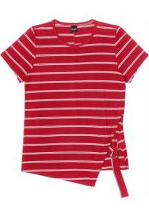 Blusa Listrada Feminina Rovitex Vermelho