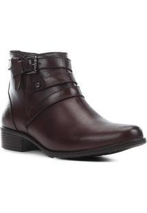 Bota Couro Shoestock Flat Fivelas Feminina - Feminino-Bordô