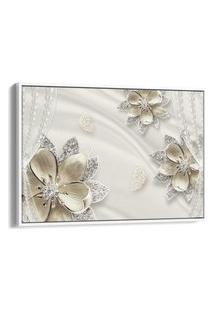Quadro 60X90Cm Flor Luxuosa Dourado Com Brilho Canvas Moldura Flutuante Branca