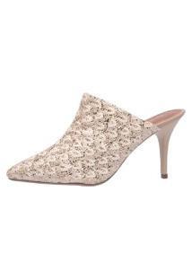 Scarpin Mule Di Scarp Calçados Rendado Salto Médio (7,5 Cm) - Glitter Bege