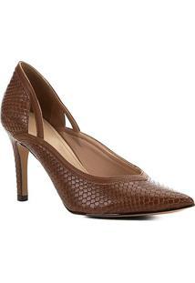 Scarpin Shoestock Snake Recortes Salto Alto - Feminino-Marrom Claro